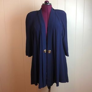 Vintage 80s/90s Textured Navy Blue Long Jacket